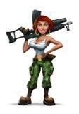 Girl with a machine gun (). Pretty girl with a machine gun. Caricature Stock Photos