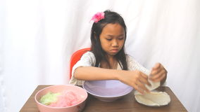 Girl made cotton candy stock video footage