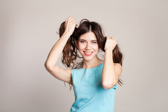 Girl made two tail of hair royalty free stock images