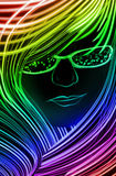 Girl made up of glowing lines Stock Photo