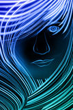 Girl made up of glowing lines. Woman with lots of hair made up of blue lines Royalty Free Stock Photos