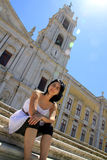 Girl and Mafra National Palace-Portugal Stock Photos