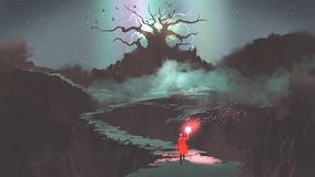 Girl with a magic torch walking to the fantasy tree. The girl in red hood with magic torch walking on mountain path leading into the fantasy tree, digital art royalty free illustration