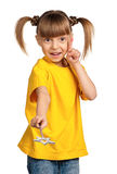 Girl with magic wand Stock Images