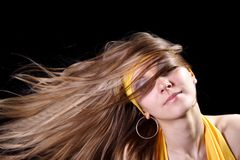 Girl with magnificent hair Stock Image