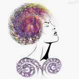 Girl with magnificent hair. Profile of a young woman with closed eyes with a fantastic hair style graphic modernist Royalty Free Stock Photos