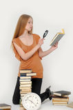 Girl with magnifier Stock Images