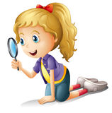 A girl and a magnifier. Illustration of a girl and a magnifier on a white background royalty free illustration