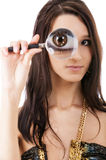 Girl with magnifier Royalty Free Stock Images