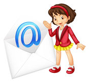 A girl with mail envelop. Illustration of a girl with mail envelop on a white royalty free illustration