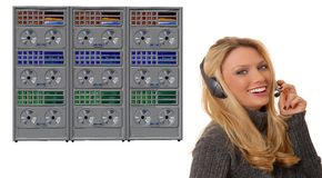 Girl and Mainframe Royalty Free Stock Photo