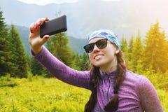 Girl make selfie Stock Images