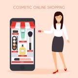 Girl make shopping online from phone. Sale. Flat design modern v Royalty Free Stock Image
