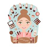 Girl make-up artist on blue background vector illustration