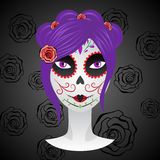 Girl with make up for day of dead. Royalty Free Stock Photo