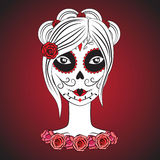 Girl with make up for day of dead. Royalty Free Stock Image