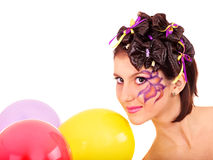 Girl  with make up and hairstyle. Royalty Free Stock Photos