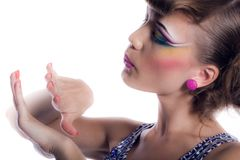 Girl with make-up and manicure Stock Photo