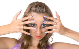 The girl with a make-up and manicure isolated Royalty Free Stock Photo