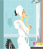 Girl a make-up at a mirror. Vector illustration of the girl a does make-up in a bathroom Royalty Free Stock Photo