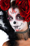 Girl with make-up in the style of Halloween. Royalty Free Stock Images