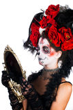 Girl with make-up in the style of Halloween. Royalty Free Stock Image