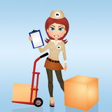Girl makes delivery. Illustration of girl makes delivery Royalty Free Stock Images