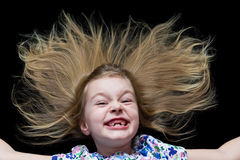 Girl makes faces imitate witch. Cute beautiful girl makes faces imitate witch Royalty Free Stock Photos