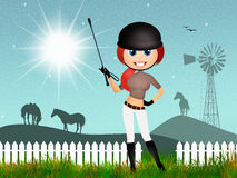 Girl makes horse riding. Illustration of girl makes horse riding Stock Photos