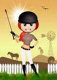 Girl makes horse riding. Illustration of girl makes horse riding Royalty Free Stock Images