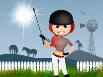 Girl makes horse riding. Illustration of girl makes horse riding Stock Images