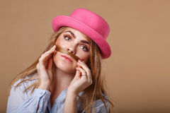 Girl makes mustaches of her hair. Royalty Free Stock Photography