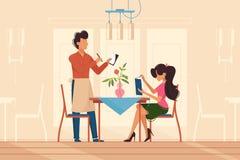 Girl makes order with waiter in restaurant stock illustration