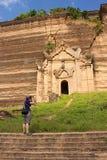 Girl makes photo of temple in Mingun Stock Photos