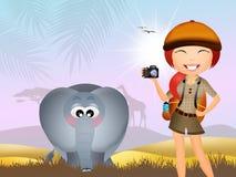 Girl makes safari Stock Image
