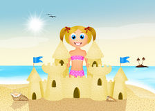 Girl makes sandcastle Royalty Free Stock Photos