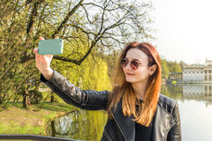 The girl makes selfie Royalty Free Stock Images