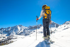Girl makes ski mountaineering Royalty Free Stock Photo
