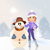 Girl makes snowman. Illustration of girl makes snowman Stock Photo