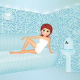 Girl makes steam bath. Illustration of girl makes steam bath Stock Image