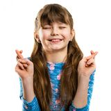 Girl makes a wish. Childhood dreams Royalty Free Stock Image