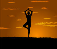 Girl makes yoga exercise at the gloaming Stock Photo