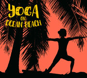 Girl makes yoga exercise on the tropical pam beach. Vector image. Royalty Free Stock Photography
