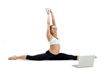 Girl makes yoga exercise Stock Images