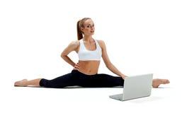 Girl makes yoga exercise Royalty Free Stock Image