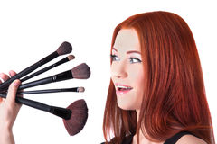 Girl makeup artist with brushes closeup Stock Photo