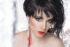Girl makeup. Girl with beautiful colorful makeup on Royalty Free Stock Photos