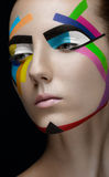 Girl makeup colored lines royalty free stock image