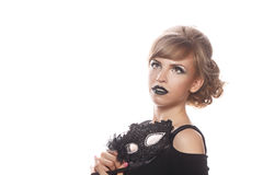 Girl with makeup and gothic masquerade mask. Royalty Free Stock Photography