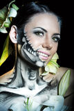 Girl with makeup for Halloween. Funk Royalty Free Stock Images